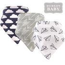 美國 Hudson Baby / Luvable Friends 嬰幼用品 領巾造型圍兜 口水巾 三件組 - 紙飛機