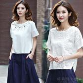 刺繡棉麻短袖T恤大碼女裝新款寬鬆上衣繡花白色體恤 好再來小屋