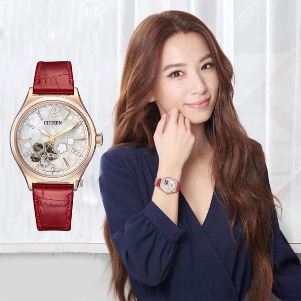 CITIZEN 星辰 廣告款櫻花限定版機械女錶-34mm(PC1018-69D)