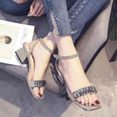 chic涼鞋女中跟高跟鞋學生夏粗跟一字扣韓版百搭羅馬女鞋中秋節搶購
