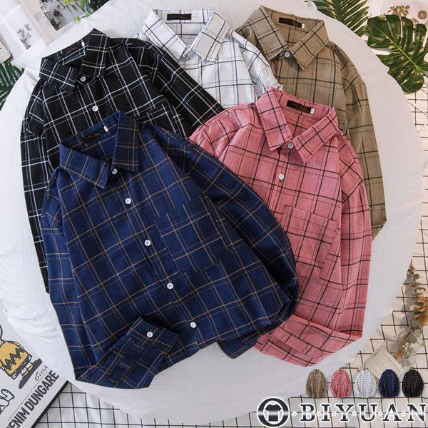 【OBIYUAN】格紋襯衫 日系格紋 寬鬆 長袖襯衫 共5色【FJD1835 】