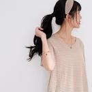 【慢。生活】薄款冰絲條紋針織T恤 082  FREE 杏色
