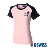 K-SWISS Raglan Tee印花短袖T恤-女-粉紅/藍