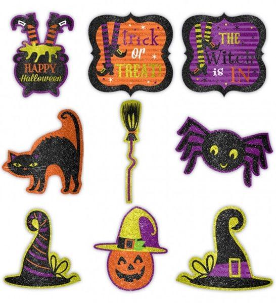 萬聖節 佈置 裝飾 裝飾紙卡9入-萬聖節女巫