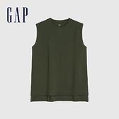 Gap女裝 純棉質感厚磅無袖T恤 688847-橄欖綠