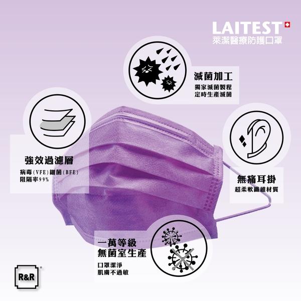 萊潔 LAITEST 醫療防護口罩(成人)-薰衣紫-50入盒裝