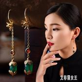 耳環女氣質韓版個性古風時尚簡約瑪瑙吊墜復古長款耳飾 Ts2058【艾菲爾女王】