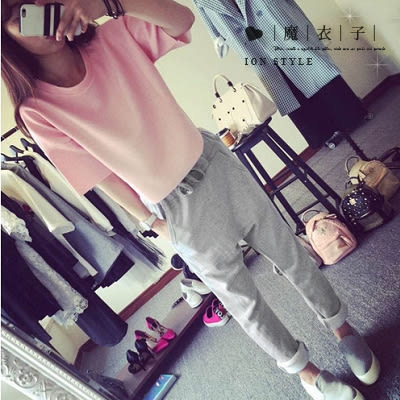 【QV0457】魔衣子-圓領寬鬆短袖上衣+鬆緊腰哈倫長褲