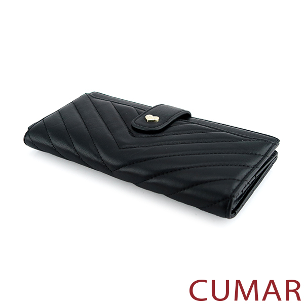 CUMAR V字車線流蘇拉鍊長夾-黑色