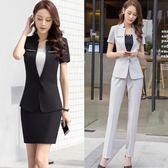 夏季職業裝套裝女時尚氣質女士短袖ol正裝西服修身工作服 可可鞋櫃