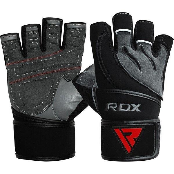 『VENUM旗艦館』RDX 英國 WGL-L4G 重訓健身訓練手套 凝膠長護腕真皮手套 黑灰 尺碼 M