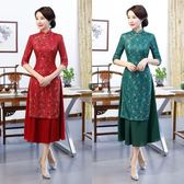 媽媽禮服長版蕾絲旗袍連身裙日常改良大碼媽媽裝旗袍 優樂居