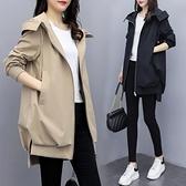 風衣外套短 春秋新款韓版休閒氣質卡其連帽風衣女中長款寬鬆黑色短外套  卡洛琳