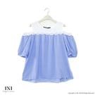 【INI】浪漫微性、小露香肩輕盈上衣.藍...