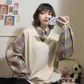 秋裝少女感穿搭復古寬鬆假兩件上衣長袖學生學院風格子襯衫女鹽系