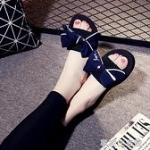 時尚新款防滑室外蝴蝶結平底坡跟涼拖鞋女夏季可愛海邊沙灘鞋·享家
