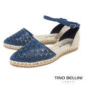Tino Bellini 巴西進口幾何沖孔繫踝麻編平底鞋 _ 藍 A83051 歐洲進口款