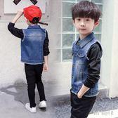 男童軟牛仔馬甲新款兒童開衫外套口袋衣服小男孩坎肩背心潮 QG15687『Bad boy時尚』