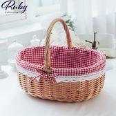 竹籃 田園風格子蕾絲邊手提野餐編織竹籃-Ruby s 露比午茶