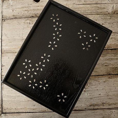 14.1英寸 日式茶具大漆雕刻鏤空長方盤