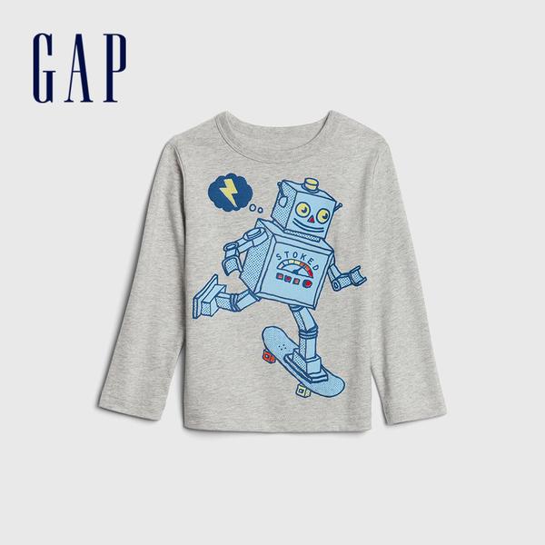 Gap男幼童 創意童趣印花圓領長袖T恤 617748-淺灰色