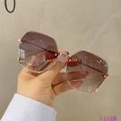 年無框切邊太陽鏡潮氣質墨鏡女大臉顯瘦時尚眼鏡防紫外線【公主日記】