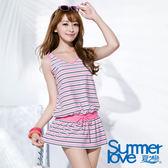 【夏之戀SUMMERLOVE】加大碼粉色條紋連身裙兩件式泳裝(S16721)
