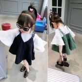 女童春秋裝連身裙童裝兒童秋季吊帶假兩件長袖裙子【奇趣小屋】