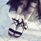 涼鞋女鞋仙女風學生百搭2019新款夏季平底羅馬時尚交叉綁帶簡約  JSY時尚屋