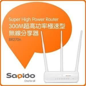 全新 SAPIDO傻多 BR270N 300M 超高功率極速型無線寬頻分享器