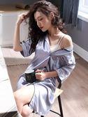 睡裙女夏季韓版清新學生夏天短袖性感襯衫長款半袖睡衣冰絲綢春秋 LI2452『伊人雅舍』