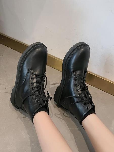 短靴 秋冬季馬丁靴女加絨學生黑色短靴女英倫風機車靴百搭復古潮鞋 (快速出貨)