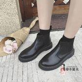 切爾西靴 英倫風平底單靴粗跟馬丁靴女秋冬ins切爾西靴厚底百搭圓頭短靴女 2款35-39