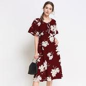 中大尺碼~氣質花朵印花短袖連衣裙(L~5XL)