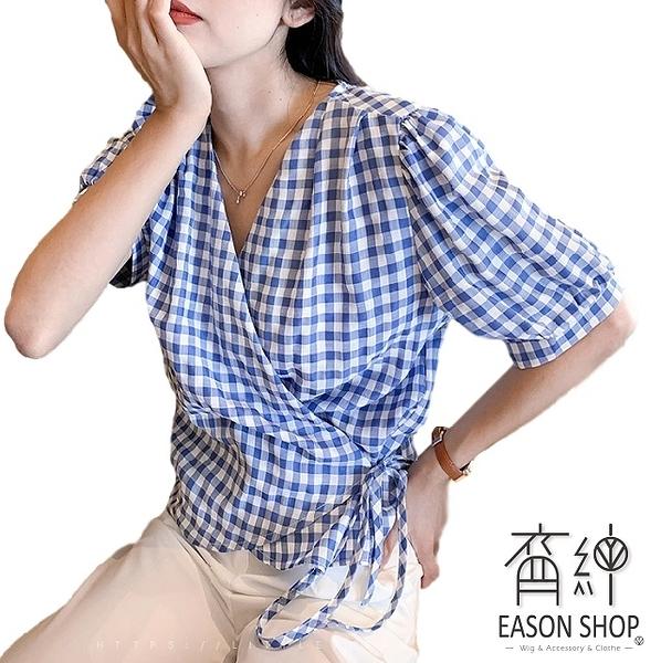 EASON SHOP(GW7169)韓版撞色格紋薄短版不規則斜邊交錯側邊綁繩大V領泡泡袖短袖襯衫女上衣服格子寬鬆