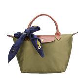 LONGCHAMP經典短提把小型尼龍摺疊水餃包(橄欖綠-含帕巾)480100-A23