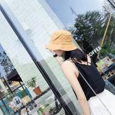 純色光板漁夫帽 平頂休閒盆帽戶外防曬遮陽帽m90
