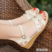夏季新款女涼鞋露趾平底平跟防滑中年大碼女鞋舒適軟底涼鞋 『蜜桃時尚』