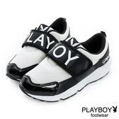 PLAYBOY 黑白潮流~PLAYBOY寬版帶休閒鞋-黑白