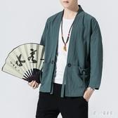 大碼中式古風男裝上衣服 中國風男士外套休閒寬鬆漢服唐裝和服秋季  LN6893【甜心小妮童裝】