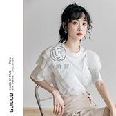 白色短袖t恤女設計感寬鬆ins潮韓版小心機雪紡拼接荷葉邊上衣夏季【小酒窩】