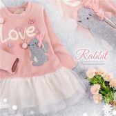 LOVE花朵兔長袖上衣小洋裝(280341)★水娃娃時尚童裝★
