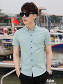 夏季新款短袖襯衫男士修身韓版休閒潮流帥氣寸衫青年純棉襯衣     易家樂