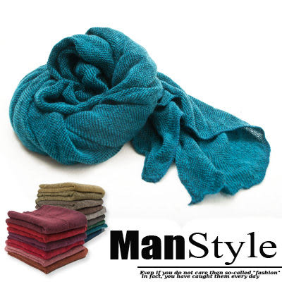 ManStyle潮流嚴選情侶馬卡龍素面簡約針織圍巾英倫街頭潮流【01J0027】