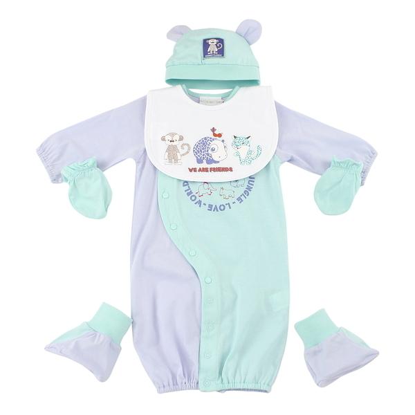 【愛的世界】純棉拼色兩用嬰衣禮盒/3~6個月-台灣製- ---禮盒推薦