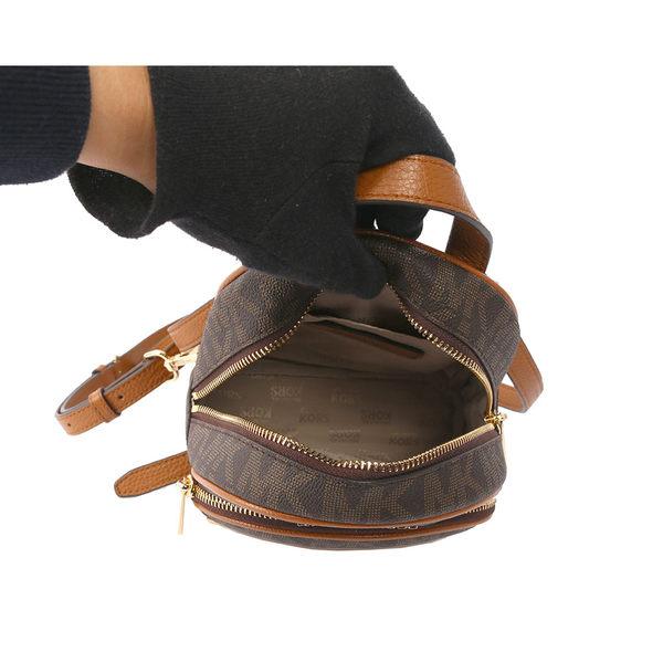 【MICHAEL KORS】PVC LOGO拼鉚釘後背包(迷你)(茶色)35T7GAYB0B BRNAC