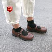 小皮鞋娃娃鞋南在南方 韓版復古可愛軟妹淺口小皮鞋瑪麗珍鞋大頭鞋學生女  凱斯盾數位3C