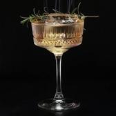 裝飾進口歐式古典高腳刻花條紋寬口香檳杯雞尾酒調酒無鉛酒杯子 有緣生活館