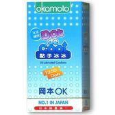 日本岡本★點子冰冰衛生套 冰涼型★特殊功能