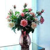 【季末大優惠】值康藍高級仿真保濕手感玫瑰假花高檔客廳落地餐桌擺絹花裝飾花